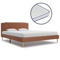 vidaXL voodi mäluvahust madratsiga, pruun, kangast, 140 x 200 cm