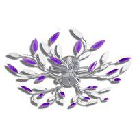 Laelamp lilladest ja valgetest kristallidest lehtedega 5 x E14 pirni