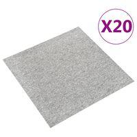 vidaXL põranda plaatvaibad 20 tk, 5 m², 50 x 50 cm, helehall