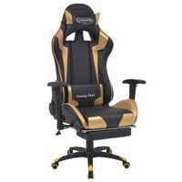 vidaXL võidusõiduistme disainiga kontoritool jalatoega, kuldne