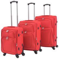 vidaXL kolmeosaline pehme kattega kohvrite komplekt, punane