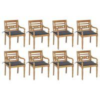 vidaXL Batavia toolid patjadega, 8 tk, tiikpuu