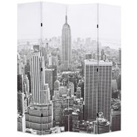 vidaXL kokkupandav sirm 160 x 170 cm, New York, must valge