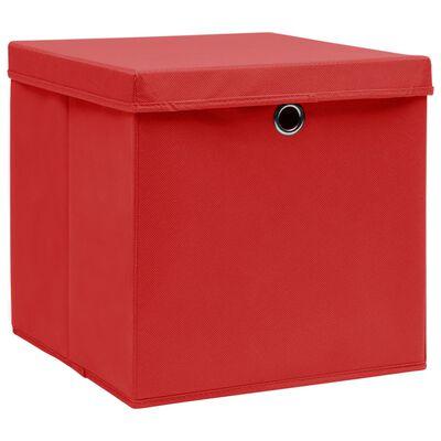 vidaXL hoiukastid kaanega 4 tk, 28 x 28 x 28 cm, punane