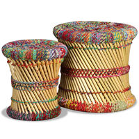 vidaXL toolid Chindi detailidega, 2 tk, mitmevärviline, bambus
