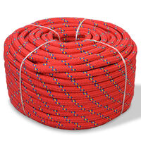 vidaXL paadiköis polürpopüleenist 10 mm, 50 m, punane