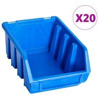 vidaXL virnastatavad hoiukarbid 20 tk, sinine, plast