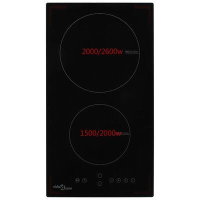vidaXL induktsioonpliit 2 plaadiga, puutetundlik klaas 3500 W