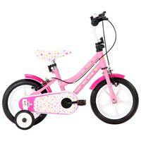 vidaXL laste jalgratas 12'', valge ja roosa