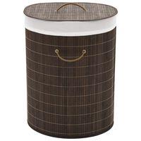 vidaXL bambusest ovaalne pesukorv, tumepruun