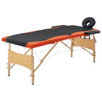 vidaXL kokkupandav massaažilaud 2 tsooniga, puit, must ja oranž