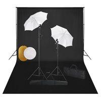 vidaXL fotostuudiokomplekt lambid, vihmavari, taustapilt ja reflektor