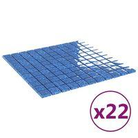 vidaXL isekinnituvad mosaiikplaadid, 22 tk, sinine, 30 x 30 cm, klaas