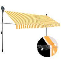 vidaXL käsitsi sissetõmmatav varikatus, LED, 350 cm, valge ja oranž
