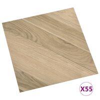 vidaXL iseliimuvad põrandaplaadid 55 tk, PVC, 5,11 m² triibuline pruun