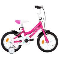 vidaXL laste jalgratas 14'', must ja roosa