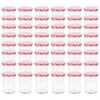 vidaXL klaasist moosipurgid valge ja punase kaanega 48 tk, 400 ml