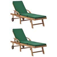 vidaXL lamamistoolid istmepatjadega 2 tk, tiikpuu, roheline