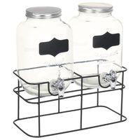 vidaXL joogiserveerimisnõu 2 tk alusega 2 x 4 l klaas