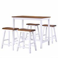 vidaXL 5-osaline baarilaua ja toolide komplekt, täispuit