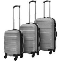 vidaXLi kolmeosaline kõvakattega kohvrite komplekt hõbedane