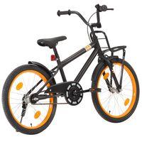vidaXL laste jalgratas esipakiraamiga, 20'', must ja oranž