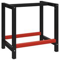 vidaXL tööpingi raam metall 80 x 57 x 79 cm, must ja punane