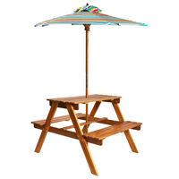 vidaXL laste piknikulaud päikesevarjuga, 79 x 90 x 60 cm, akaatsiapuit