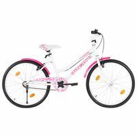 vidaXL laste jalgratas 24'', roosa ja valge