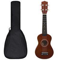"""vidaXL sopran ukulele komplekt kotiga lastele tume puit 21"""""""
