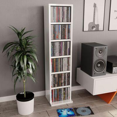 vidaXL CD-kapp, kõrgläikega valge, 21 x 20 x 88 cm, puitlaastplaat