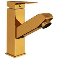 vidaXL vannitoakraan, väljatõmmatav, kuldne, 157 x 172 mm