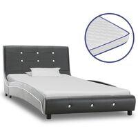 vidaXL voodi mäluvahust madratsiga, hall, kunstnahk, 90 x 200 cm