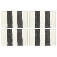 vidaXL lauamatid 4 tk Chindi triip, antratsiithall ja valge 30 x 45 cm