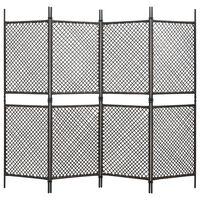vidaXL 4 paneeliga ruumijagaja, polürotang, pruun, 240 x 200 cm