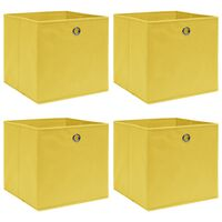 vidaXL hoiukastid 4 tk, kollane, 32 x 32 x 32 cm, kangas