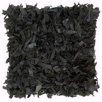 vidaXL padi, narmastega, must, 60 x 60 cm, nahk ja puuvill