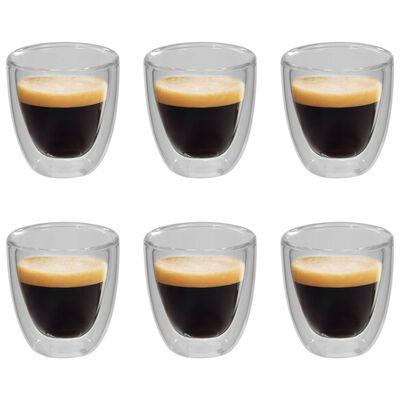 vidaXL topelt termoklaas espresso jaoks, 6 tk, 80 ml