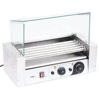 vidaXL 5 hot dogi grill klaaskattega, 1000 W