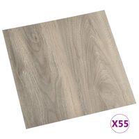 vidaXL iseliimuvad põrandaplaadid 55 tk, PVC, 5,11 m², pruunikashall