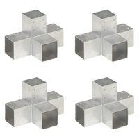 vidaXL postiühendused, 4 tk X-kujuline, tsingitud metall, 91 x 91 mm