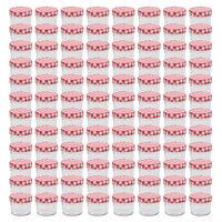 vidaXL valgete ja punaste kaantega klaasist moosipurgid 96 tk, 110 ml