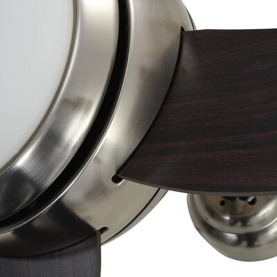 vidaXL kaunistatud laeventilaator valgustusega 128 cm pruun