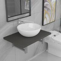 vidaXL kaheosaline vannitoamööbli komplekt, keraamiline, hall