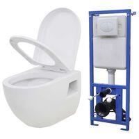 vidaXL seinale kinnitatav peidetud loputuskastiga WC-pott, valge