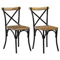 vidaXL ristikujulise seljatoega toolid 2 tk, must, toekas mangopuit
