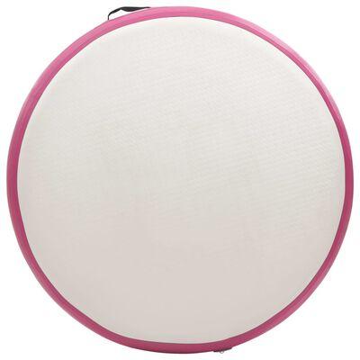 vidaXL täispumbatav võimlemismatt pumbaga 100x100x10 cm PVC roosa, Roosa ja hall