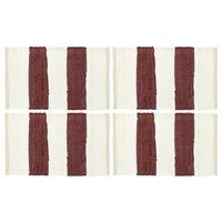 vidaXL lauamatid 4 tk Chindi triip, burgundiapunane ja valge 30x45 cm