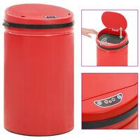vidaXL automaatanduriga prügikast 40 l süsinikteras, punane