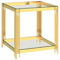 vidaXL kohvilaud kuldne, 55x55x55 cm, roostevaba teras ja klaas